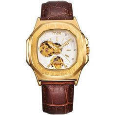 Cheap relojio, Buy Directly from China Suppliers:Men Leather watches New Fashion Sport MCE Mechanical Movement Square Golden Dial Military Cool Stylish Watch relojio Stylish Watches, Casual Watches, Winner Watches, Automatic Watches For Men, Leather Watch Bands, Mechanical Watch, Watch Brands, Leather Men, Men Dress