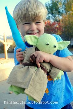 Yoda Softie. I know a boy who would like this! I made one similar to this for my favorite 3 year old for Valentines Day out of terrycloth. I cant wait to give it to him!