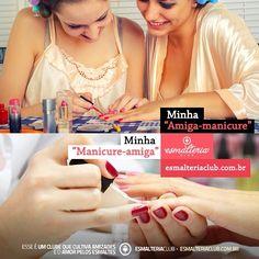 """Escreve aqui no post o nome daquela sua """"amiga-manicure"""" (aquela amiga que sempre te ajuda com suas unhas) ou aquela sua """"manicure-amiga"""" (a sua manicure ou empresa) ♥ Queremos conhecer os anjos que trazem mais cores para a sua vida #esmalteriaclub"""