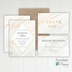 Marble Wedding Invitation / Modern Wedding Invitation / Blush