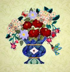 """Hummingbird in My Garden"", an original pattern by Evelyn Crovo Hall at Stella Bella Applique"