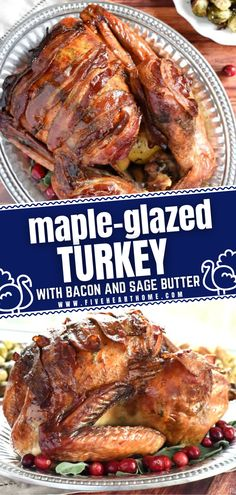 A fun new spin for this year's holiday dinner menu! You will never cook this easy main dish another away once you try this recipe. With the bonus crispy bacon strips, this Maple-Glazed Thanksgiving Turkey with Sage Butter is the best and the only turkey recipe you must make! Easy Christmas Dinner, Thanksgiving Dinner Recipes, Christmas Breakfast, Holiday Dinner, Thanksgiving Turkey, Holiday Recipes, Ham Recipes, Turkey Recipes, Sage Butter