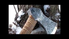Re-forging an old wood axe into an engraved viking axe