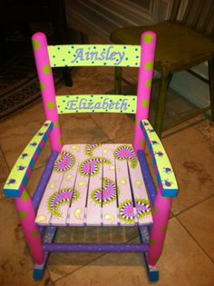Hand Painted Children's Furniture. Hand Painted Rocking Chair. Ainsley Elizabeth - Polka dots and Paisleys
