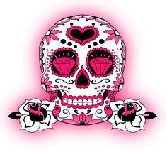 Pretty in Pink Sugar Skull Artwork, Skull Wall Art, Sugar Skull Costume, Sugar Skull Makeup, Meaningful Tattoos For Couples, Skull Tattoo Flowers, Candy Skulls, Sugar Skulls, Music Drawings