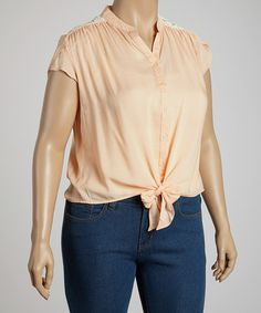 Take a look at this Peach Tie-Waist Top - Plus by Rachel and Chloe on #zulily today!