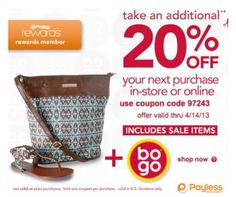 It looks like you're interested in our Payless Coupons 20 Off. We also offer many different Discount Coupons on our site, so check us out now and get to printing! Printable Coupons, Printables, 20 Off, Discount Coupons, Coupon Codes, Sale Items, Coding, Print Templates, Programming