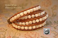 Leather Wrap Bracelet Mother of Pearl 6mm Round by OceanAirStudio
