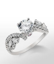 This is the back up! | Monique Lhuillier Floral Twist Diamond Engagement Ring in Platinum