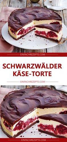 Black Forest Cheese Cake, perfectly seasoned with Schwarzwälder-Käse-Torte 😍 😍 😍, einwandfrei mit Tantes eingelegten Ki… Black Forest Cheese Cake 😍 😍 😍, flawless with marinated cherry, June 2019 - Cheese Cake Receita, Cheese Cakes, Cheesecake Recipes, Dessert Recipes, Cheesecake Cake, Dessert Blog, Black Forest Cheesecake, Black Forest Torte Recipe, Flaky Pastry