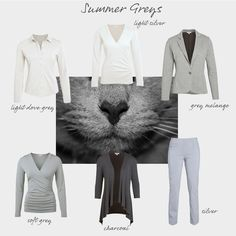 Summers actually look good in most shades of grey, but your absolute best greys will always have a slightly bluey undertone, like barbecue smoke or steel. Don't shy away from other shades though, as they will also harmonise with your palette - everything from soft light grey marl through to a grey almost as dark as charcoal. Just make sure you don't choose greys with a warm yellow or green undertone, which belong to the warm seasons.