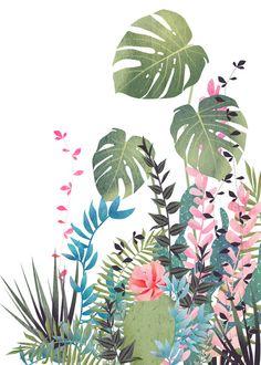 tropical composition Art Print by Marta Olga Klara - X-Small Pop Art Wallpaper, Flower Wallpaper, Pattern Wallpaper, Flower Mural, Flower Art, Floral Flowers, Tiare Tahiti, Wall Painting Decor, Composition Art