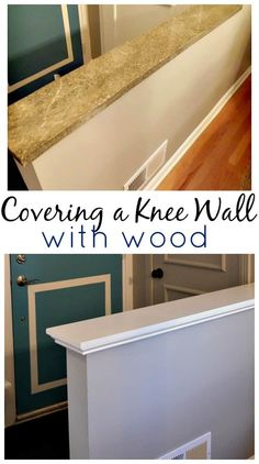 Knee wall cap step by step tutorial. The easy way to cover an unsightly knee or half wall. Wall Ledge, Wall Bar, Home Renovation, Home Remodeling, Bathroom Remodeling, Bathroom Ideas, Demis Murs, Half Wall Kitchen, Wall Railing