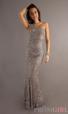 Long One Shoulder Open Back Sequin Dress by Scala 47541 - Beautiful collection of Prom Dresses.