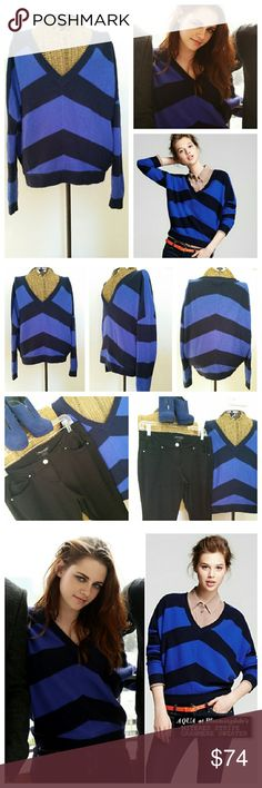 """AQUA CASHMERE mitered stripe drop shoulder sweater As seen on Kristen Stewart..pic by Cool spotters Sx XS 100% Cashmere  Royal navy stripe Underarm to underarm 25.5""""...meant to fit slouchy Drop shoulder Top of shoulder to hem 21 """" to 23"""" in back  Excellent condition Aqua Sweaters V-Necks"""