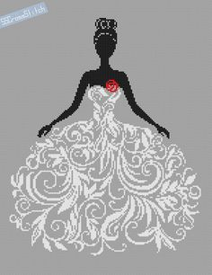 Counted Cross Stitch Pattern Bride in Wedding Dress Abstract