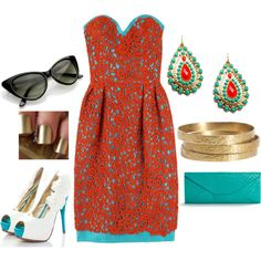 Super cute wedding guest outfit | courtesy of Polyvore