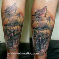 #shiptattoo #ship  #tattoo  #tattooprahu #prahulayar #jacksparrow  #fullcolortattoo #realistic #tattoobali #tattooubud #bali #indonesia www.yantinotattoo.com