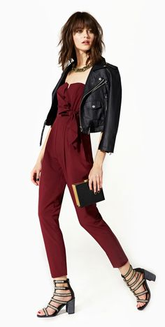 Wine Red & Black, pairing gold accessories = fail proof formula to a glamorous & chic evening! Love the jumpsuit - need to bring out mine soon...!
