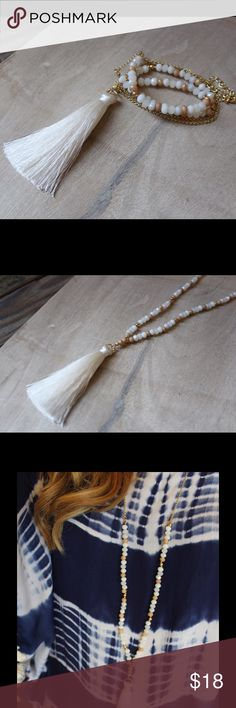 """Natural tassel fringe necklace Beaded tassel necklace with white fringe, natural color beads mixed with white. 36"""" length. MA5050812 Jewelry Necklaces"""