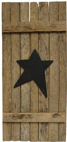 "Tobacco Stick Shutter - Accent windows, walls, and cabinets with these rustic Tobacco Stick Shutters! Naturally worn and aged wooden mini shutter with a black primitive star in the center. 17"" tall and 8"" wide, sawtooth hanger on back."