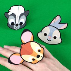 Bambi Cutie Rings:     Bambi and his friends are cute, but they've never looked cuter than they do on these Cutie rings. They make the perfect accessory for any little Bambi fan!         Instructions:   Print the rings on regular paper or cardstock.  Cut out each ring.  Carefully cut along the two gray lines on each ring. (Be sure not to cut all the way through the ring.)  Wrap the ring around your finger or a friend's, and secure by interlocking the cut slits. Download: http://a.family.go.com/images/cms/disney/PDFs/bambi-cutie-paper-rings-printables-0211.pdf