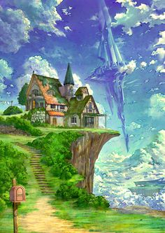 Tagged with art, anime, scenery, beautiful, scene; Fantasy City, Fantasy House, Fantasy Places, Fantasy World, Fantasy Artwork, Fantasy Concept Art, Fantasy Landscape, Landscape Art, Fantasy Setting