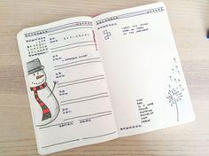 Weekly spread of my bullet journal in December