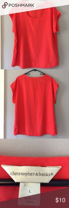Size Large-XL Christopher & banks scoop neck top Soft & Silky loose fitting scoop neck top! Fits more like XL!!! Only worn 1 time, purchased without trying on. Bust 48, length 27inches christpoher & banks Tops Blouses
