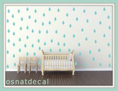 FREE SHIPPING Wall Decal Rain Drops TURQUOISE Color. Each Kit 132. Nursery Wall Decal. Home Decor. Vinyl Wall Decal Wall Sticker. Wall Art