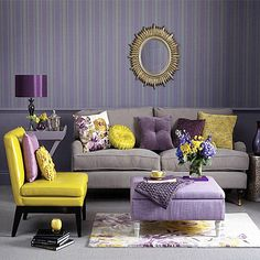 Living Room With Royal Purple And Yellow Accents Comfortable Furniture Interior Design