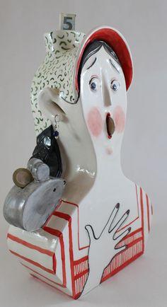 """lady & mouse"" ceramic money box"