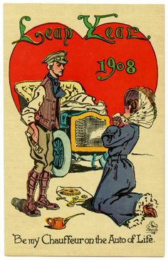 """Leap Year My Chauffeur on the Auto of Life """"Leap Year Be my chauffeur on the auto of life. Crane, Leap Year postcards (above and below) from a 1908 series by illustrator Donn P. Vintage Cards, Vintage Postcards, Happy Leap Day, Irish Traditions, Marriage Proposals, Vintage Valentines, Hello Everyone, Whimsical, Antiques"""