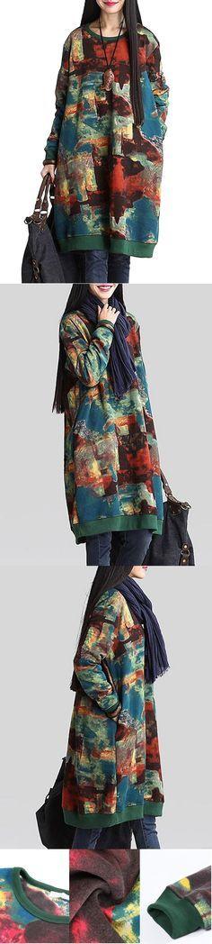 Retro Style Print O Neck Long Sleeve Loose Vintage Women Dress