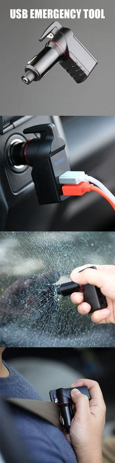 Stinger 3-in-1 Emergency Tool that includes a window breaker, a seatbelt cutter, and two USB car charger ports. #Cool gadgets  #Survival gadget