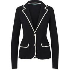 Lauren Ralph Lauren Stretch Cotton Sweater Blazer, Polo Black/Herbal... ($220) ❤ liked on Polyvore featuring outerwear, jackets, blazers, short blazer jacket, long sleeve jacket, collar jacket, blazer jacket and polo jackets