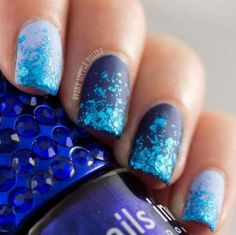37 Super Ideas For Nails Matte Navy Dark Blue Sparkle Nails, Glitter Nail Art, Blue Glitter, Blue Sparkles, Art Challenge, Navy Nails, Blue Nail Designs, Super Nails, Perfect Nails