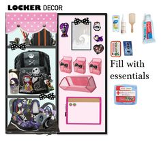 """""""Nightmare Before Christmas Locker"""" by halloweenwikii ❤ liked on Polyvore featuring Philip Kingsley, H&M, Colgate, Philips, BackToSchool and lockerdecor"""