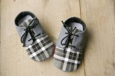 Grey and black plaid baby boy booties, oxford shoes, new boy crib shoes, baby shower gift. on Etsy, $26.56 AUD