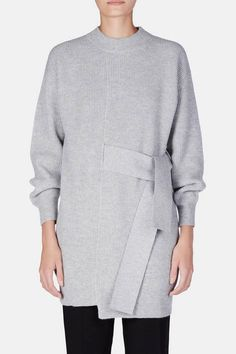 Proenza Schouler — L/S Knit Dress with Tie - Light Grey Melange Diy Pullover, Long Sleeve And Shorts, Knitting Designs, Proenza Schouler, Day Dresses, Knit Dress, Lounge Wear, Knitwear, Cashmere