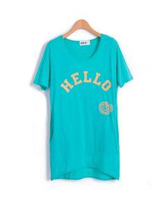 """Hello"" Print Longline T-shirts  from Chicnova"