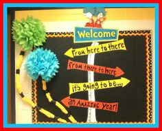 Seuss bulletin board for beginning of year.