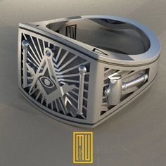 Masonic Rings Unique Design for Men 925K Sterling Silver (HMY2014-MMS)
