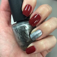 #NOTD: OPI Fifty Shades of Grey's Romantically Involved (red), My Silk Tie (silver) and Shine for Me (blue glitter). Available January 2015. #Padgram