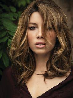 Jessica #Biel, #brunette with highlights