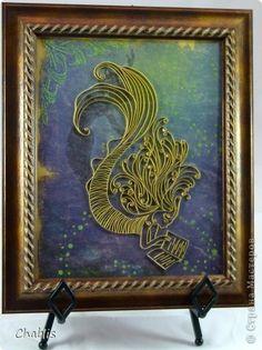 Картина панно рисунок Квиллинг Русалочка Бумага Бумажные полосы Бусинки фото 2