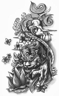 Shisa Dog Half-sleeve Tattoo Design