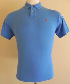 POLO Ralph LAUREN Custom FIT Large POLO Shirt BLUE Sz SIZE Interlock ORANGE Pony #PoloRalphLauren #PoloRugby