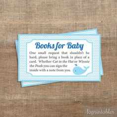 Blue Baby Shower Book Request Whale Baby Shower by LAPrintables