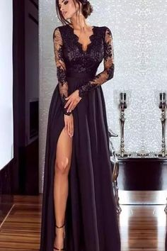 Women Lace Evening Party Prom Gown Ladies Formal Empire Waist Long Dress Solid V-Neck Long Sleeve Floor-Length Maxi Dresses Split Prom Dresses, Prom Dresses With Sleeves, Lace Evening Dresses, Elegant Dresses, Beautiful Dresses, Prom Dresses Black Lace, Long Black Lace Dress, Black Gala Dress, Ladies Long Dresses